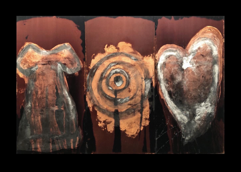 Dress, Target, Heart. Bleach and Beeswax on Velvet. 180 x 90 cm ( 180 x 270 triptych ). 2012.